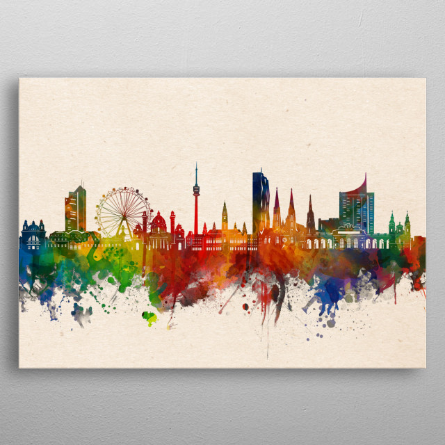 Vienna skyline inspired by decorative,watercolor,colorful,pop art design metal poster