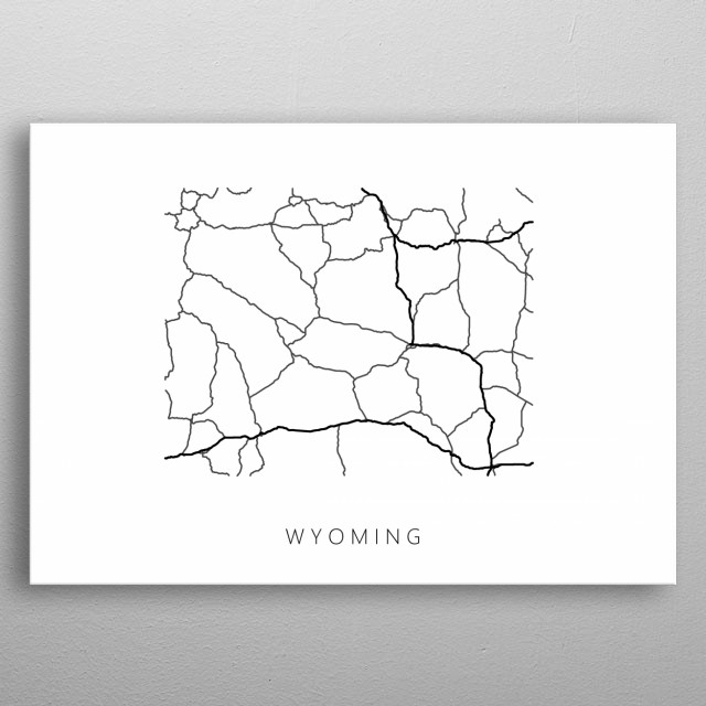 Map of Wyoming created by roads and highways. metal poster