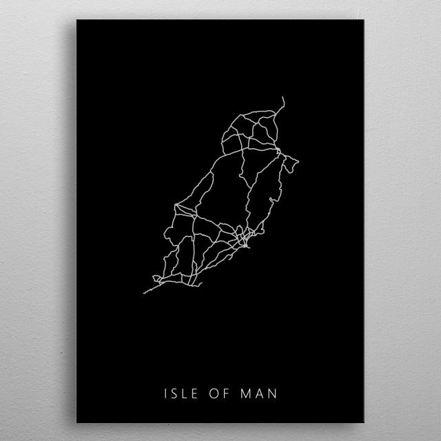 Map of Isle of Man created by roads and highways. metal poster