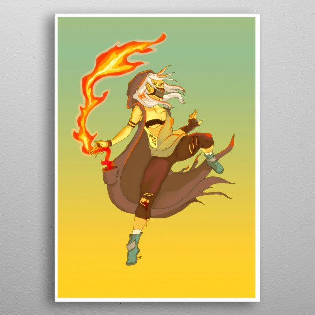 Just a fire bender in a post apocalyptic world. metal poster