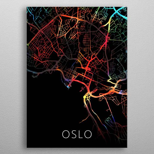 Oslo Norway Watercolor City Street Map Dark Mode metal poster