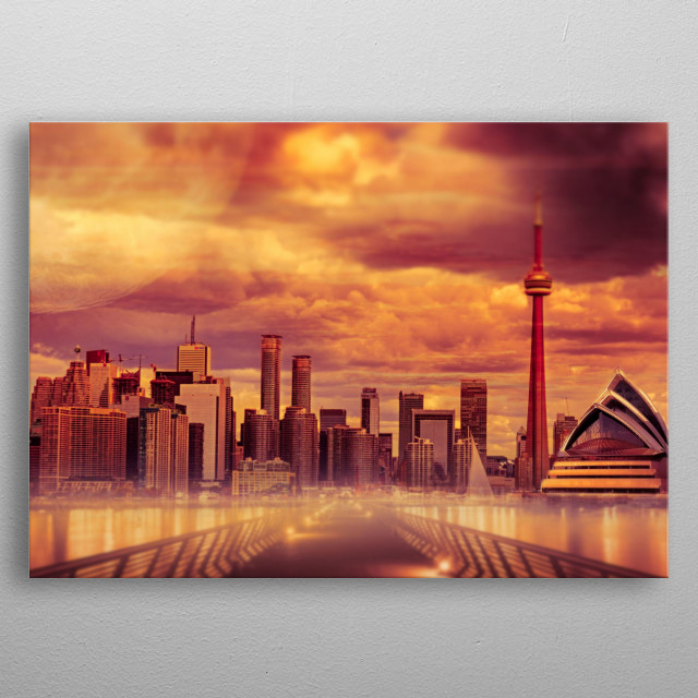Hot Summer City with a bridge to a amazing skyline with skyscrapers metal poster