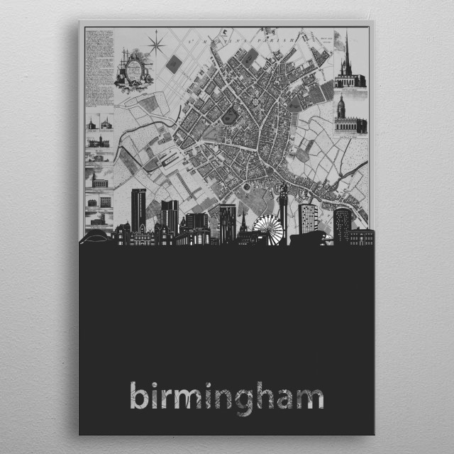 Birmingham skyline inspired by decorative,cartography,grey,pop art design metal poster