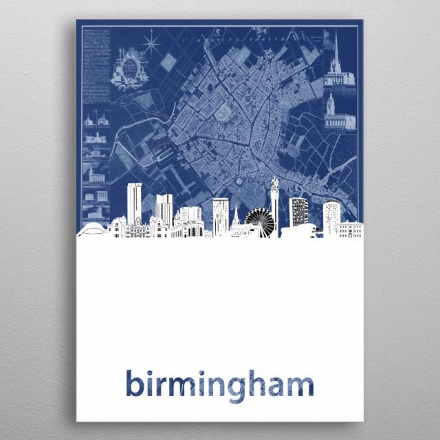 Birmingham skyline inspired by decorative,cartography,blueprint,pop art design metal poster
