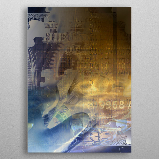 Dollar bill in human hand. Industrial gears background metal poster
