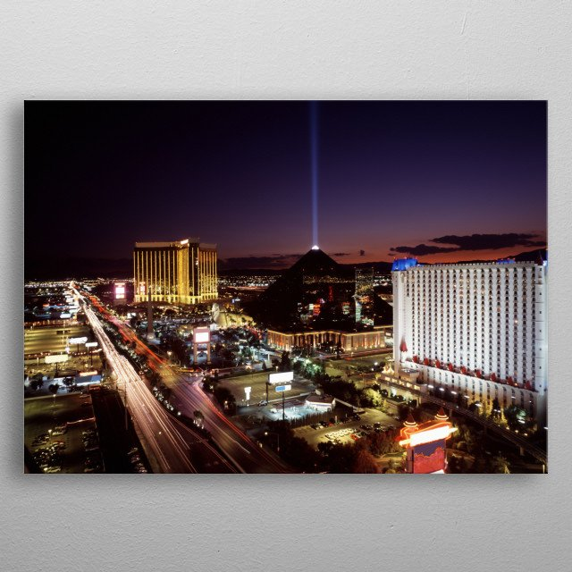 Dusk view of Las Vegas in the 90s  metal poster
