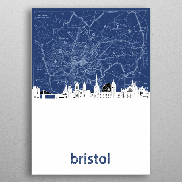 Bristol skyline inspired by decorative,cartography,blueprint,pop art design metal poster