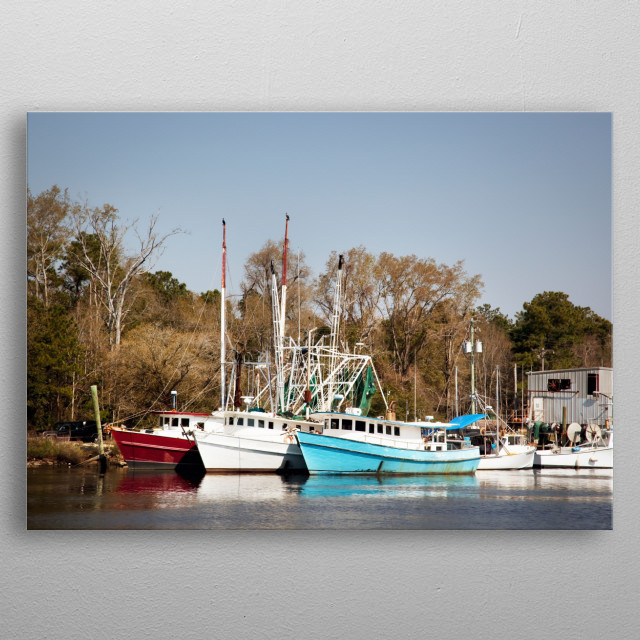 Bayou La Batre is a fishing village with a seafood-processing harbor for fishing boats and shrimp boats  metal poster