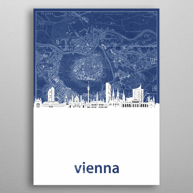 Vienna skyline inspired by decorative,cartography,blueprint,pop art design metal poster