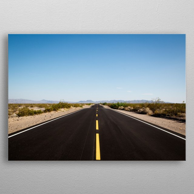 Highway leading to the Mojave Desert in California  metal poster