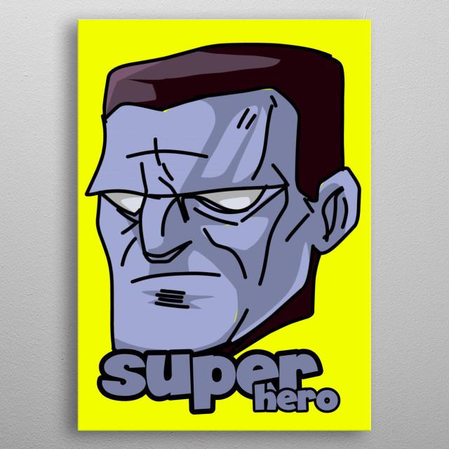 Head Hero cartoon metal poster