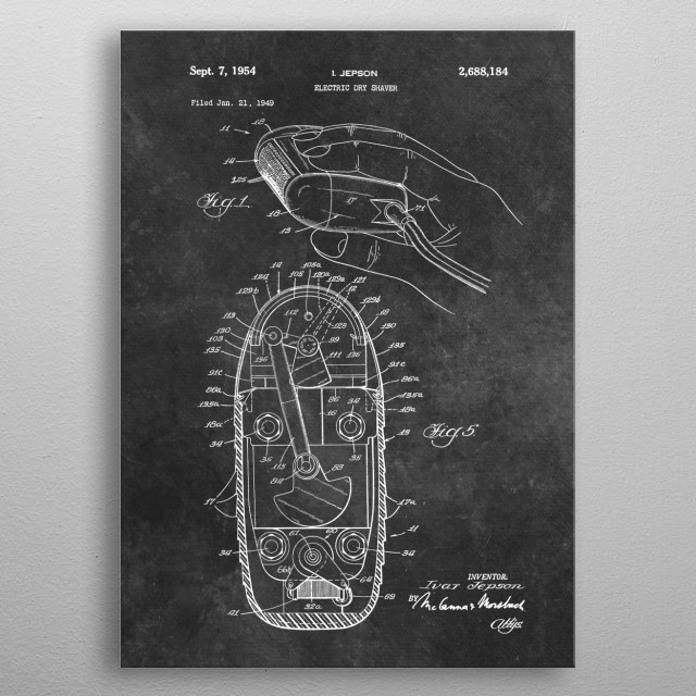 patent Jepson Electric dty shaver 1949 metal poster