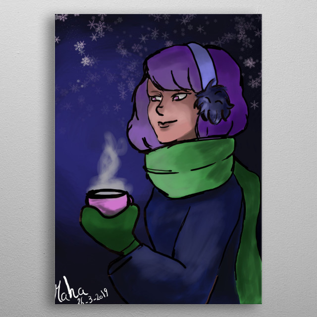 an illustration on the program medibang of a girl on winter  metal poster