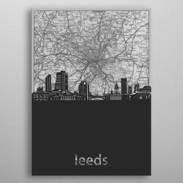 Leeds skyline inspired by decorative,cartography,vintage,grey,pop art design metal poster