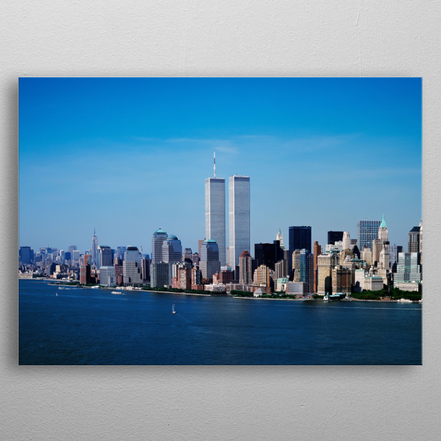 Aerial view of New York City, in which the World Trade Center Twin Towers is prominent  metal poster