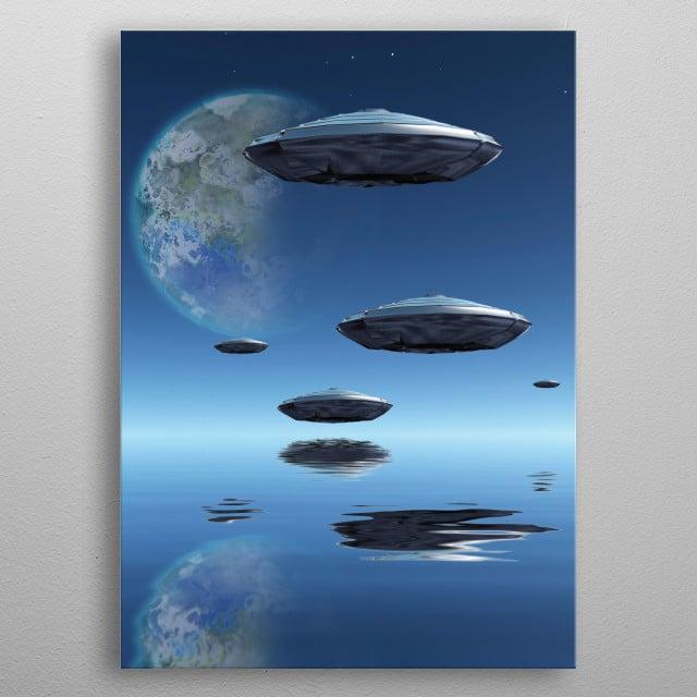Flying saucers flies above ocean on water planet. Terraformed moon in the sky metal poster