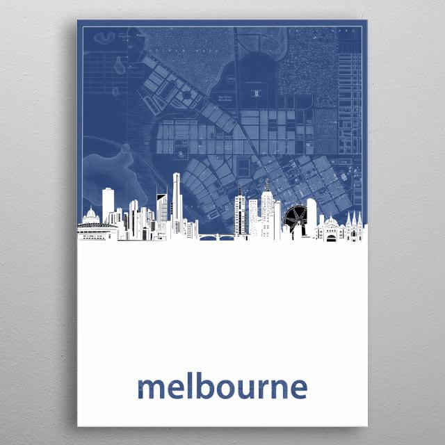 Melbourne skyline inspired by decorative,cartography,blueprint,pop art design metal poster