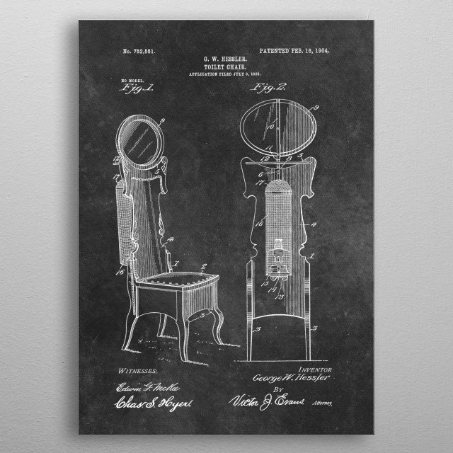 patent Hessler Toilet chair 1903 metal poster