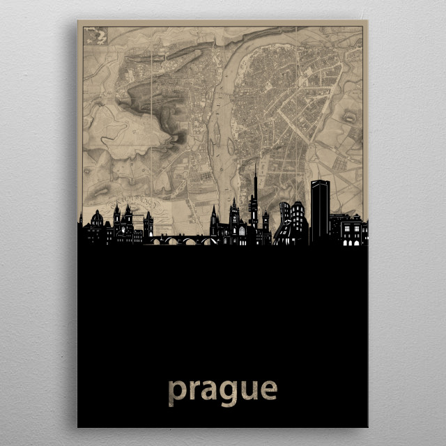 Prague skyline inspired by decorative,cartography,vintage,pop art design metal poster