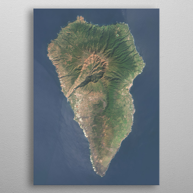 Vibrant satellite image of the Island of La Palma, Canary Islands, Spain. metal poster