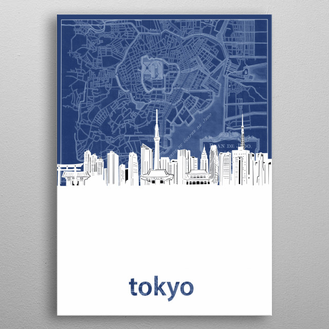 Tokyo skyline inspired by decorative,cartography,blueprint,pop art design metal poster