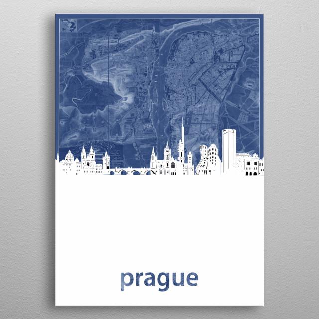 Prague skyline inspired by decorative,cartography,blueprint,pop art design metal poster