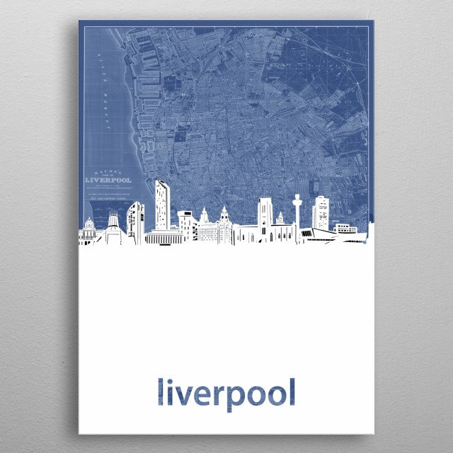 Liverpool skyline inspired by decorative,cartography,blueprint,pop art design metal poster
