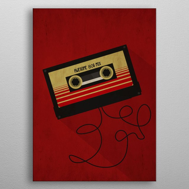 Cassette tape in vintage style metal poster