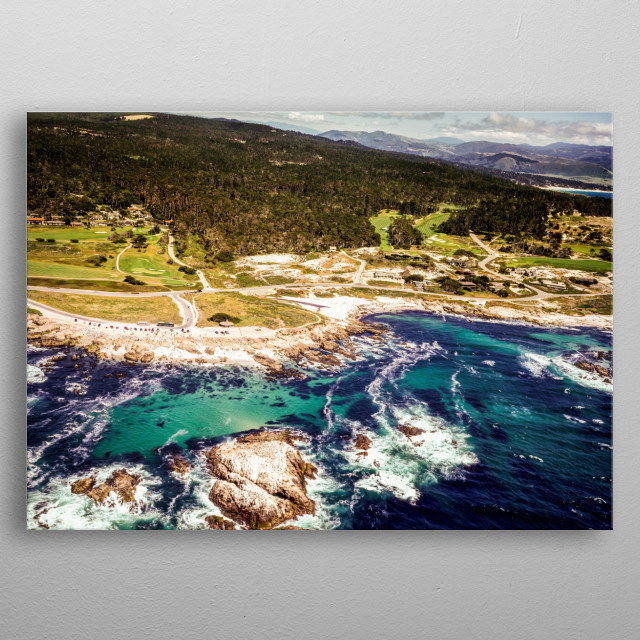 Spectacular California coast and coastal mountains  metal poster