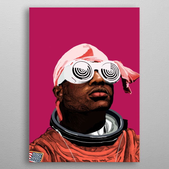 ski mask the slump god as an astronaut  metal poster