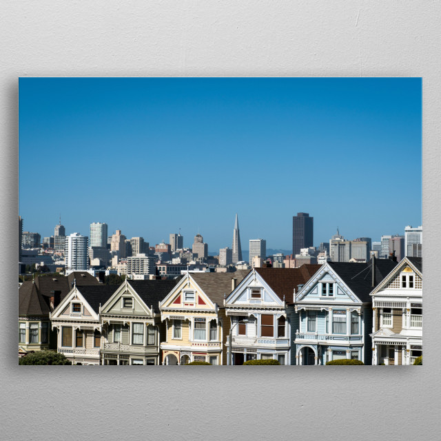 The infamous row of Victorian houses across from Alamo Square Park, in San Francisco  metal poster