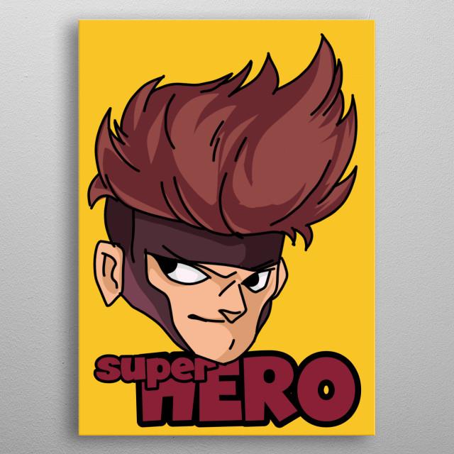 Head super Hero toon metal poster