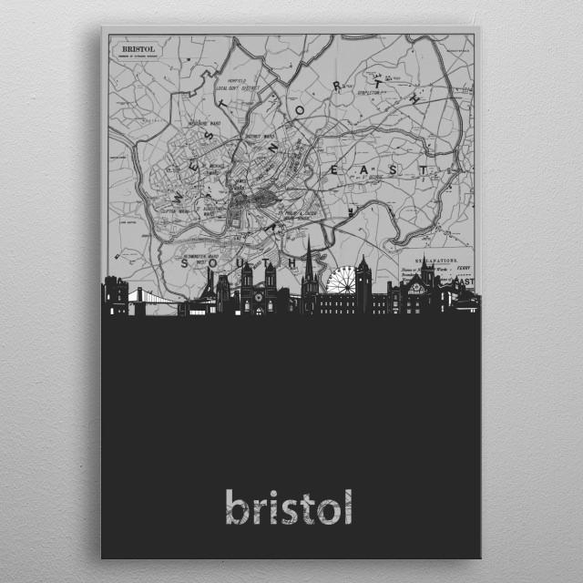 Bristol skyline inspired by decorative,cartography,grey,pop art design metal poster
