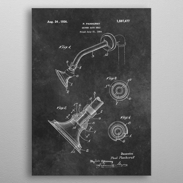 patent Panhorst Shower bath head 1924 metal poster