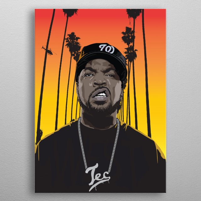 Vector Illustration of Ice Cube metal poster