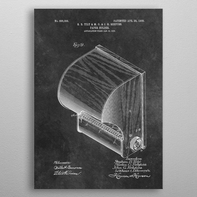 Tily and Rehfuss Paper holder 1908 metal poster