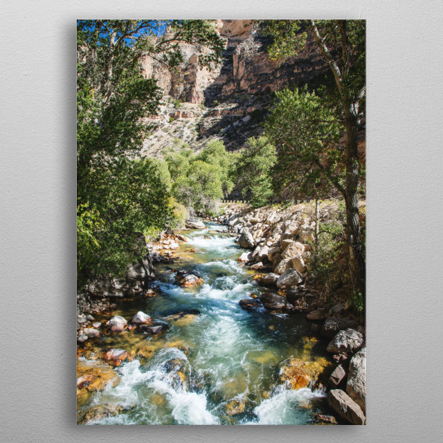 High-country stream and cottonwoods in rugged north-central Wyoming's rugged Big Horn County  metal poster