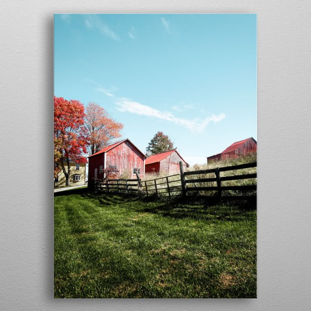Grouping of small barns in this Monroe County, West Virginia, autumnal rural scene  metal poster