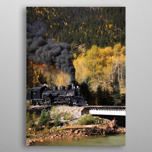 A Durango & Silverton Narrow-Guage Scenic Railroad train, pulled by a vintage steam locomotive, crosses an alpine bridge in San Juan County, metal poster