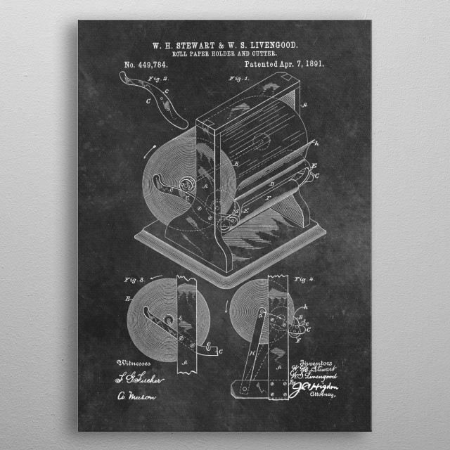 Stewart and Livengood Roll paper holder and cutter 1891 metal poster