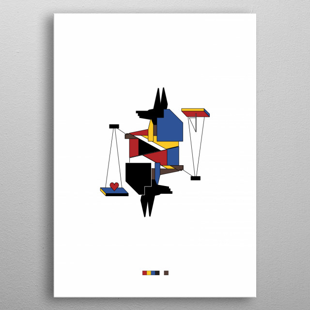 Inspired by:  - Egyptian Art  - De Stijl  - French Playing Cards metal poster