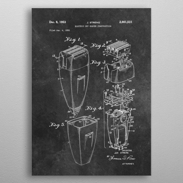patent Streng Electric dry shaver construction 1953 metal poster