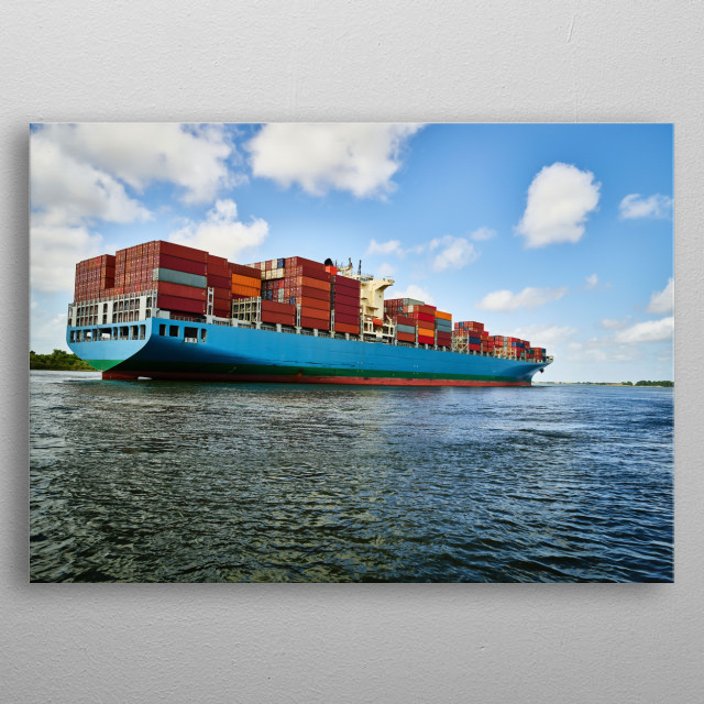 A massive container ship plies the Savannah River in Savannah, Georgia  metal poster