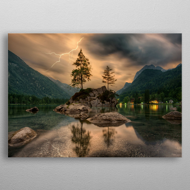 """Water Lake Surrounding with Mountains   """"The lake and the mountains have become my landscape, my real world."""" metal poster"""