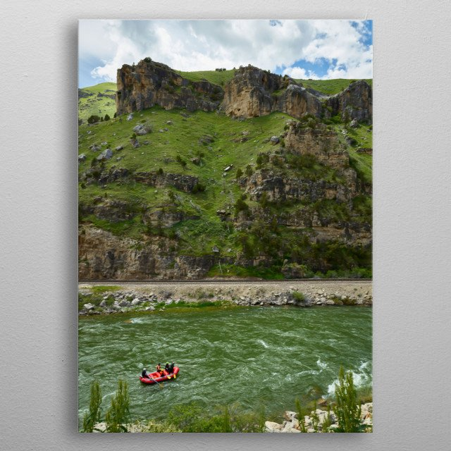 Rafters on the Bighorn River below Thermopolis, Wyoming  metal poster