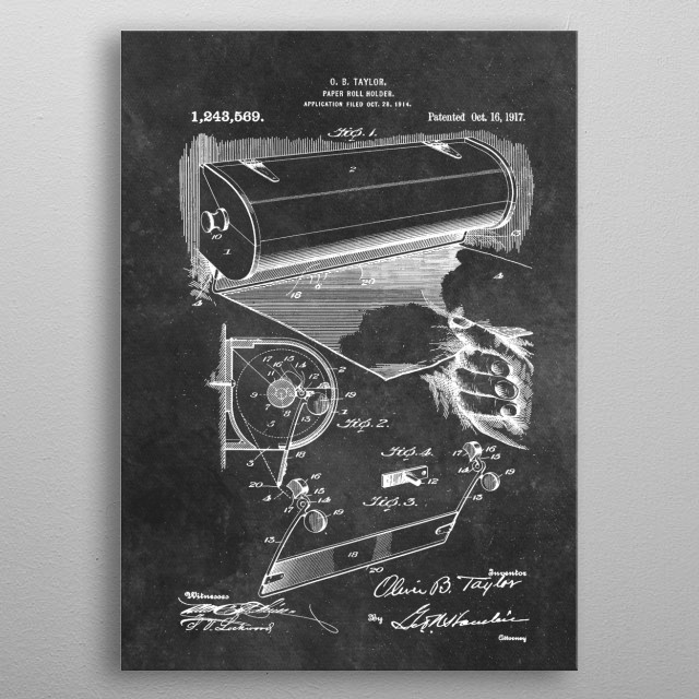 Taylor Paper roll holder 1917 metal poster
