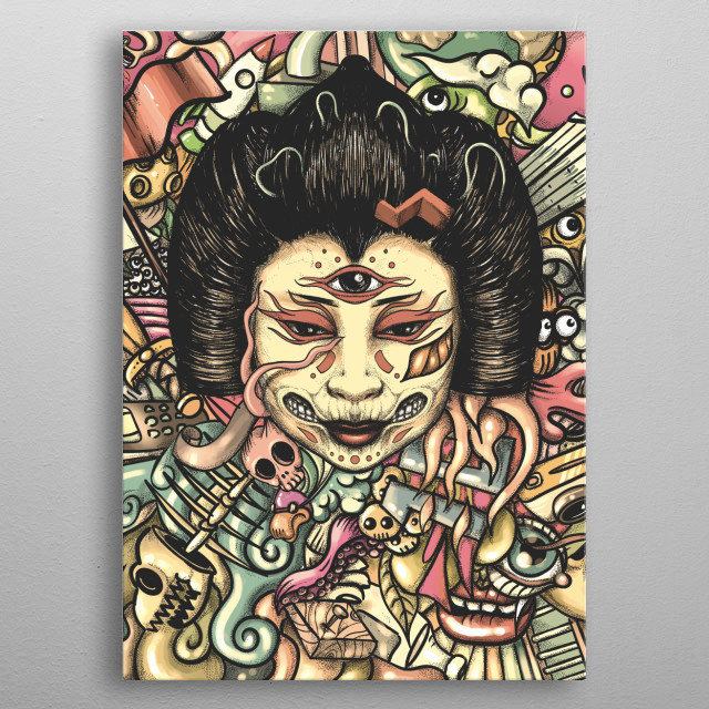 A colorful colection full with strange creatures and funny doodles. metal poster