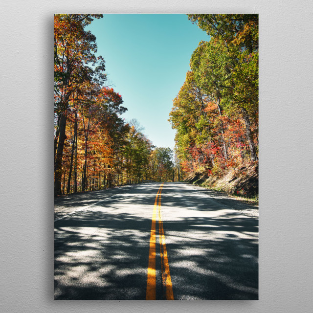 Fall scene near Babcock State Park in Fayette County, West Virginia  metal poster