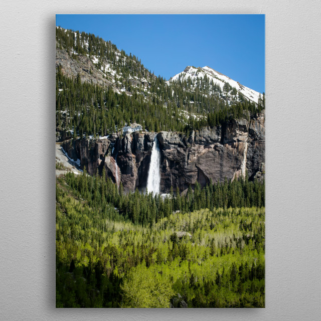 Bridal Veil Falls, Colorado USA - Original image from Carol M  metal poster