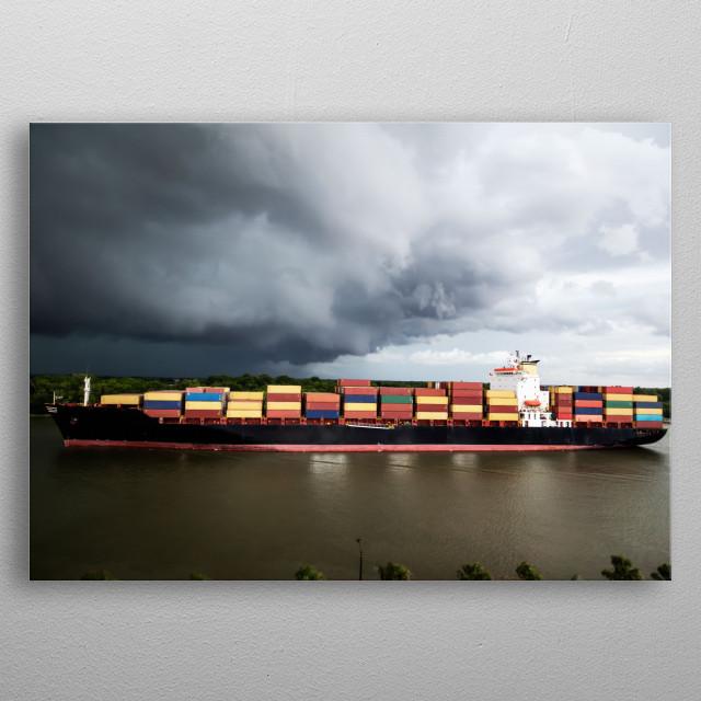 An oceangoing container ship plies the busy Savannah River in Savannah, Georgia  metal poster